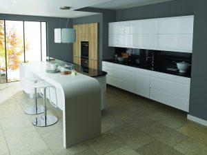 Remo Gloss White Reclaimed Oak Contemporary Kitchen
